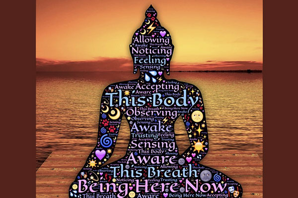 spiritual figure with writing about body and breath awareness