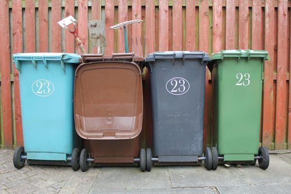 wheelie bins of trash