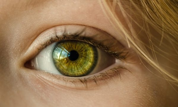 woman's very green eye close up