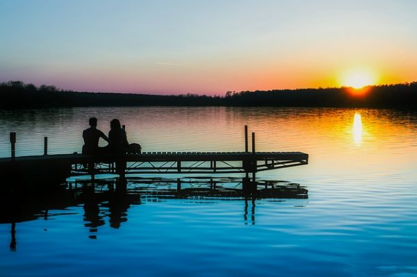 sunset across a bay