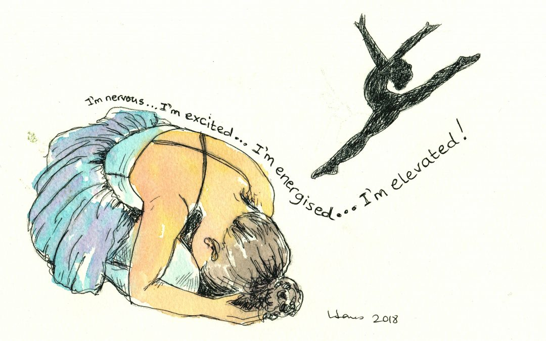 drawing of ballerina in two poses