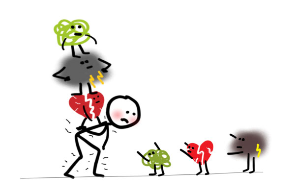 cartoon of someone carrying emotional baggage blog the positive psychology people