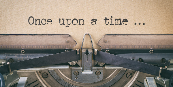 typewritten 'once upon a time' blog for the positive psychology people blog about writers block