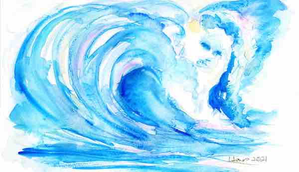 original art of blue wave with face blog for the positive psychology people by Lisa Jones